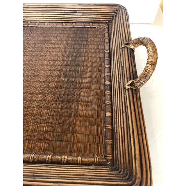 A super sized handsome handled gallery tray, that's a humungous rectangle made of wicker, rattan, wood and seagrass. Would...
