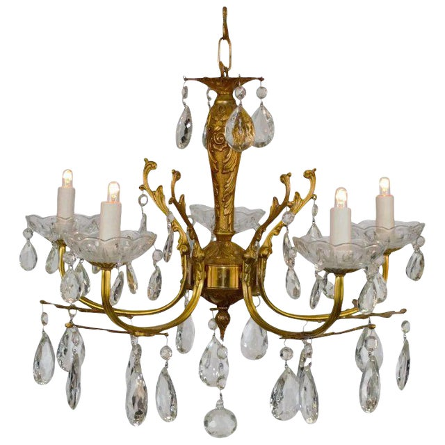 Brass & Crystal Chandelier For Sale