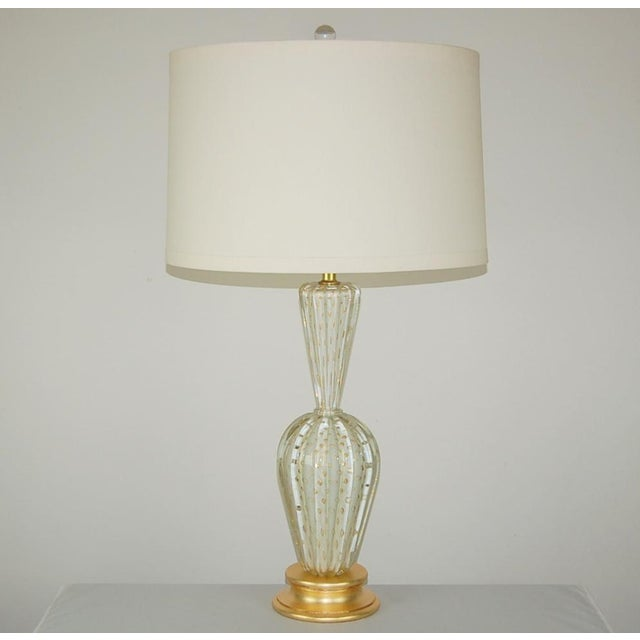 Vintage Murano Glass Table Lamps White Bubbles For Sale - Image 11 of 13