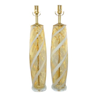 Vintage Murano Glass Lamps Gold For Sale