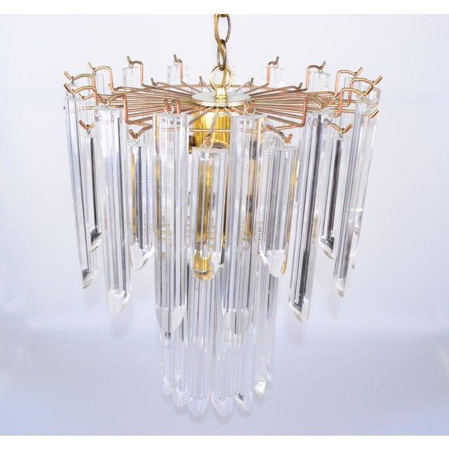 Mid-Century Modern Lucite & Brass Chandelier - Image 4 of 10