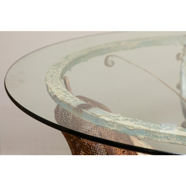 Hand Wrought Iron Dolphin Outdoor Table For Sale - Image 4 of 8
