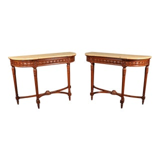 Pair of French Louis XVI Style Carved Walnut Demilune Console Tables For Sale