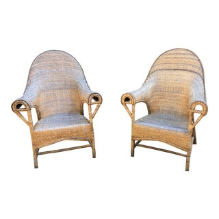 1970s Vintage Rattan Boho Throne Chairs-a Pair For Sale