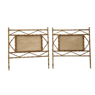 Vintage Mid-Century Rattan and Cane Twin Headboards - a Pair For Sale