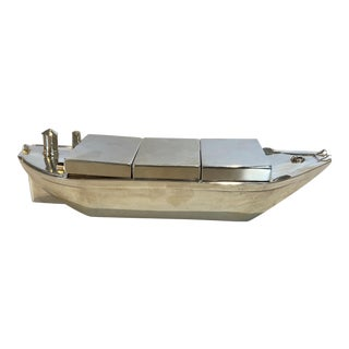 English Silver-Plated Boat Sculpture For Sale
