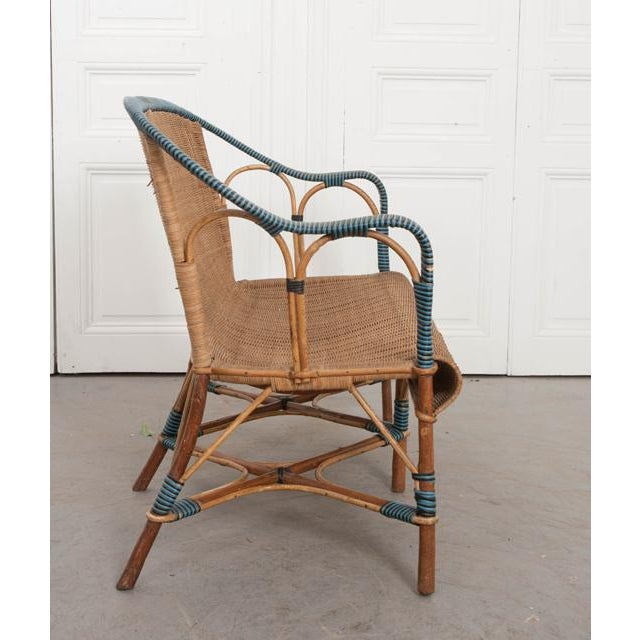 Vintage French Woven-Rattan Settee For Sale - Image 10 of 11