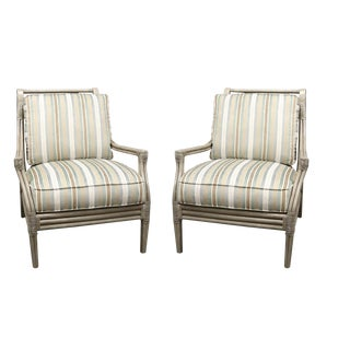 Gray Faux Bamboo Club Chair - A Pair For Sale