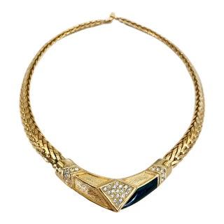 Christian Dior Black Enamel and Diamante Geometric Choker For Sale