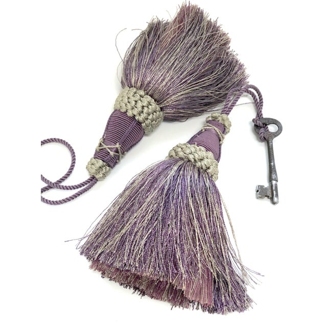 Key Tassels in Amethyst and Gray With Ruche Trim - a Pair For Sale - Image 10 of 12