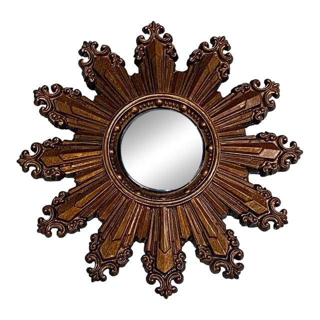 Vintage Small Gilt Convex Starburst Mirror For Sale
