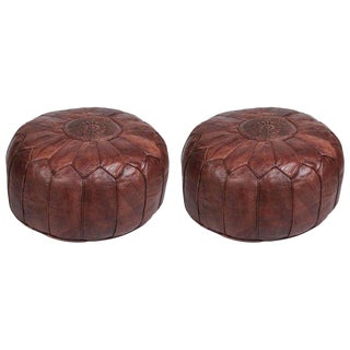 Vintage Mid Century Brown Moroccan Leather Poufs- a Pair For Sale