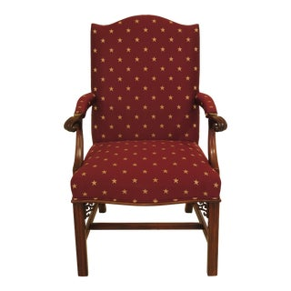 1990s Vintage Southwood Chippendale Style Mahogany Open Armchair For Sale