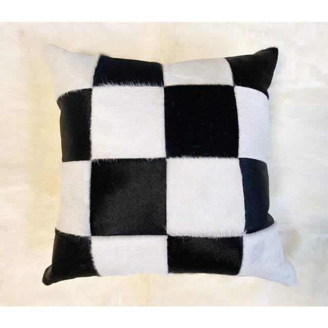 """Black Black and White Patchwork Cowhide Pillow, 24"""" For Sale - Image 8 of 8"""