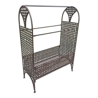 Vintage Wrought Iron Umbrella Stand For Sale