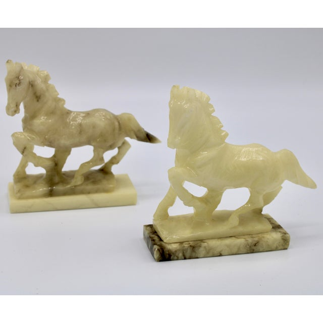Stone Mid-20th Century Italian Alabaster Mantle Horse Bookends - a Pair For Sale - Image 7 of 13