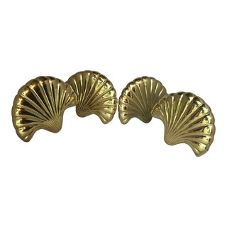 Vintage Solid Brass Seashell Curtain Tiebacks - Set of 4 For Sale