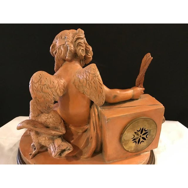 French Terracotta Cherub Mantle Clock For Sale - Image 5 of 11