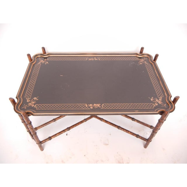 Boho Chic Vintage Baker Faux Bamboo Coffee Table For Sale - Image 3 of 5