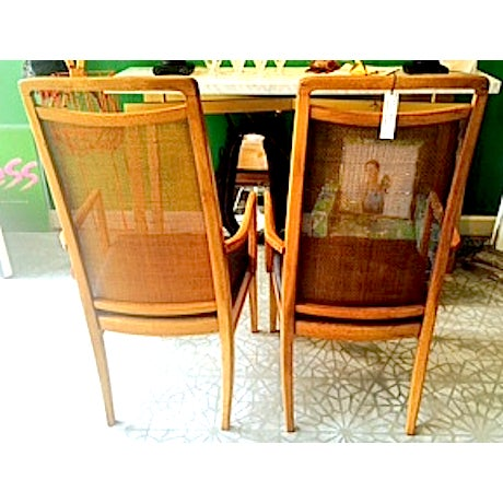 Mid-Century Wood & Cane Armchairs - a Pair - Image 4 of 5