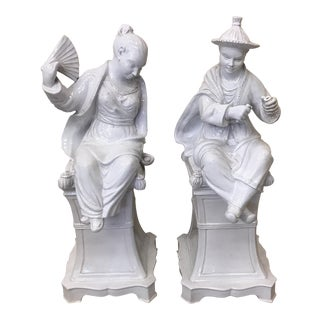 Italian Faience Glazed Chinese Figures - A Pair