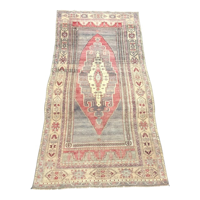Faded Turkish Oushak Traditional Rug-4'6'x9'6' For Sale