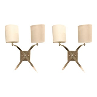 Worlds Away Modern Silver Leaf Finished Kendall Sconces - a Pair For Sale