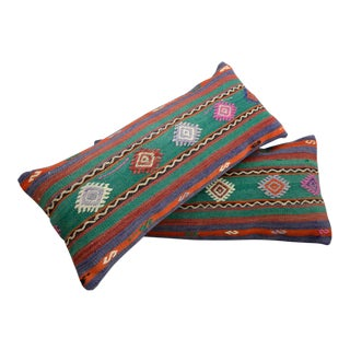 """A Pair Vintage Turkish Kilim Lumbar Pillow Covers - 14"""" X 30"""" For Sale"""