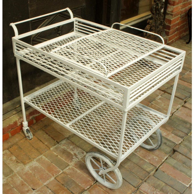1940s Vintage Wrought Iron Patio Bar Cart For Sale - Image 4 of 10