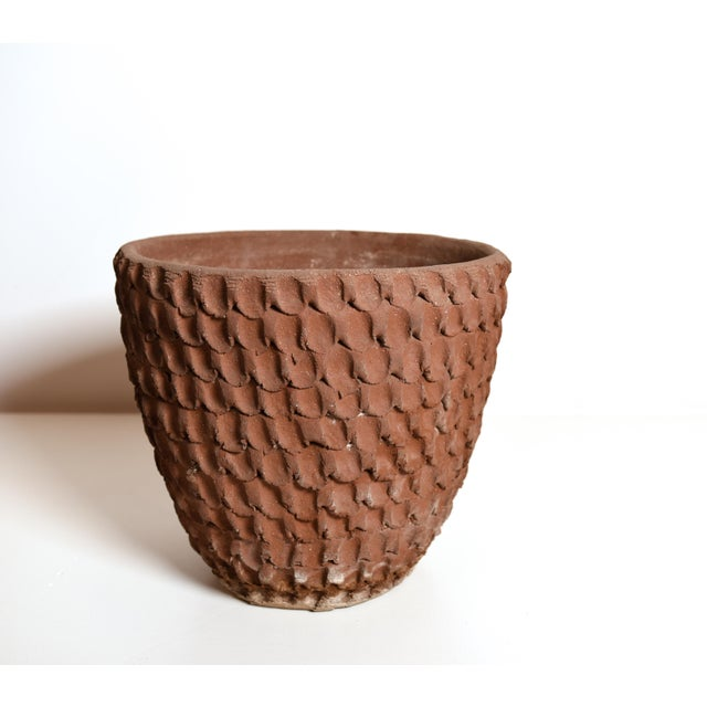 Thumb Pot and Tray by ceramic sculptor Stan Bitters for Hans Sumpf Company Terracotta with hand applied texture and...