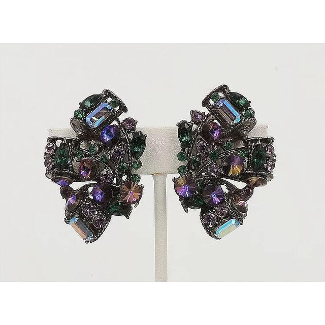 Modern 1980s Thelma Deutsch Japanned Rhinestone Earrings For Sale - Image 3 of 6