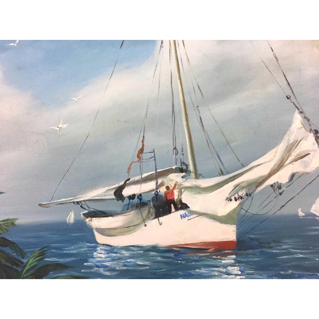 Vintage Impressionism handpainted authentic painting of harbor view, big sailboat, clear blue sea and skyline