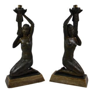 Vintage French Art Deco Figurative Nude Lady Lamp - a Pair For Sale
