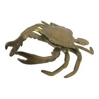 Mid-Century Lidded Brass Crab