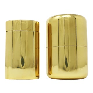 Vintage Italian Brass Containers - a Set of Two For Sale