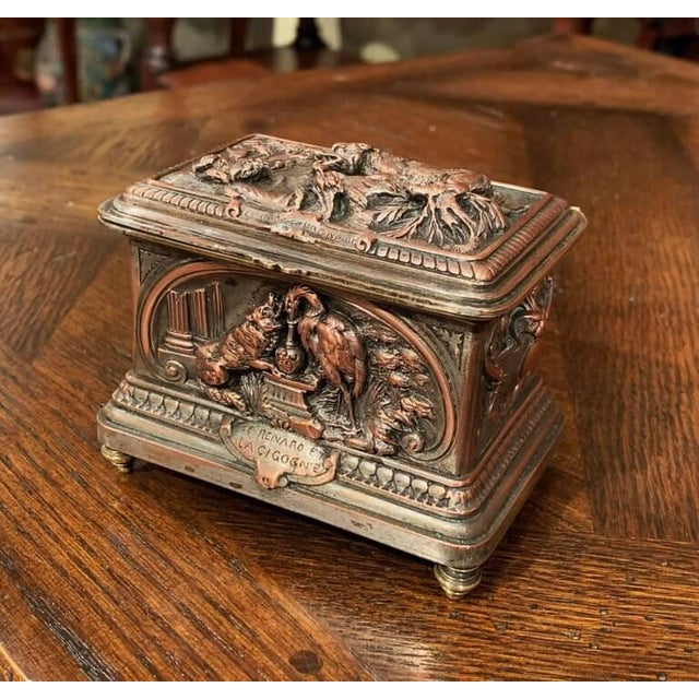 Metal 19th Century French Silver Plated on Copper Jewelry Box With Repoussé Hunt Motif For Sale - Image 7 of 7