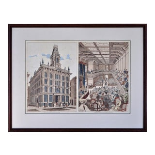 Antique Etching Depicting San Francisco Stock Exchange & Interior of the Pacific Stock Exchange For Sale
