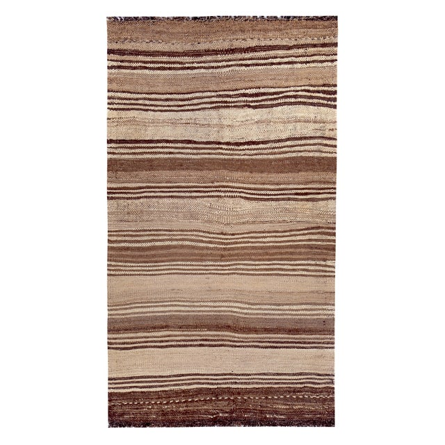 Brown Turkish Kilim Rug With Brown Stripes on Beige Field For Sale - Image 8 of 8