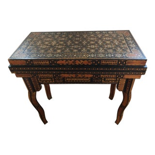 Folk Art Handmade Inlaid Wooden Game Table For Sale