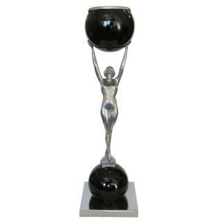 Frankart Style Silvertone and Onyx Nude Figural Cocktail Smoker Ashtray For Sale