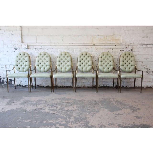 1970s Vintage Mastercraft Brass Regency Dining Chairs - Set of 6 - Image 2 of 11