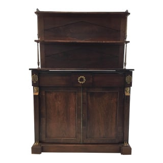 Antique Empire Mahogany Cabinet/Bookshelf With Antique Brass Egyptian Motif For Sale