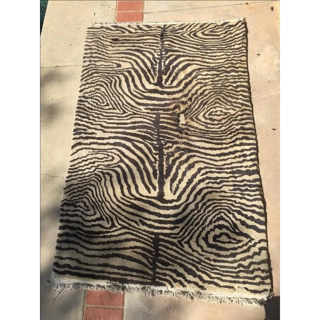"Cream & Black Animal Print Wool Rug - 4' X 6'4"" - Image 2 of 5"