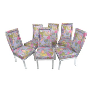 Charles Hollis Jones Mid-Century Modern Acrylic & Chrome Dining Chairs, Set of 6 For Sale