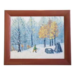 1930s Winter Landscape Oil Painting, by j.s. Riegel For Sale
