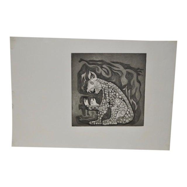 Arnold Grossman Symbolic Shamanistic Etching - Image 1 of 6