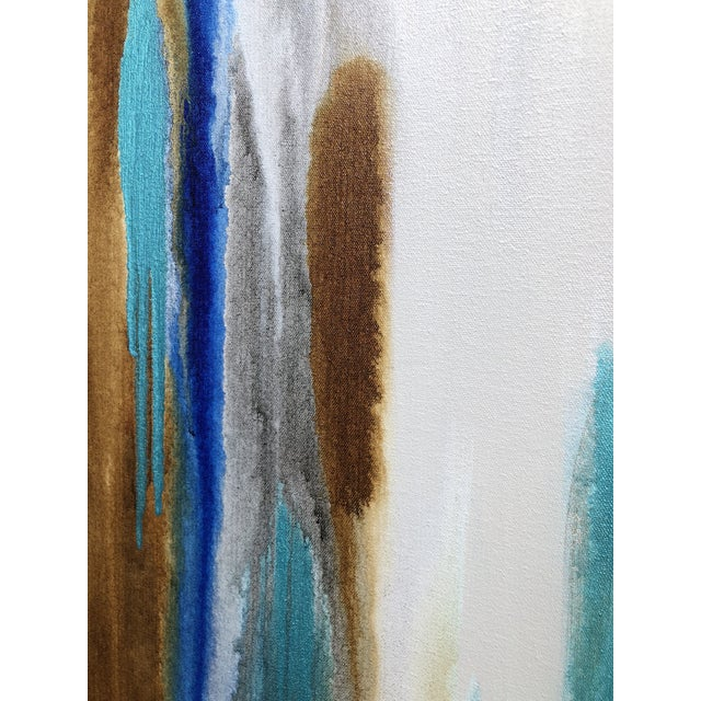 "Abstract 2010s Abstract Acrylic With Oil Finish Painting, ""Blue Laguna Hills II"" by Trudi Norris For Sale - Image 3 of 4"