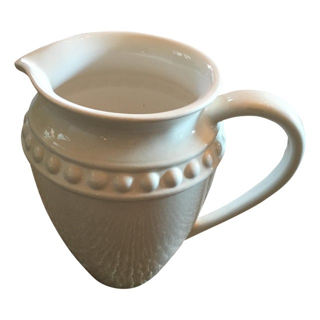 White Ceramic Pitcher With Dot Detail and Handle For Sale