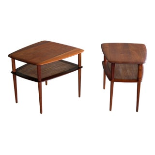 Pair of Peter Hvidt and Orla Molgaard Nielsen Tiered Teak End or Side Tables For Sale