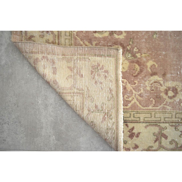 Green Vintage Turkish Hand Knotted Area Rug Distressed and Faded Colors - 5′1″ × 8′4″ For Sale - Image 8 of 9